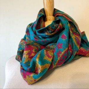 BOHO-Turquoise/Pink Floral Reversible Scarf/Wrap